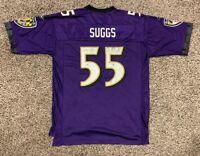 VTG Terrell Suggs Baltimore Ravens Mens L Reebok Purple Mesh Football Jersey NFL