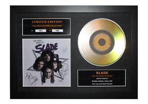 Slade Signed Gold Disc Album Ltd Edition Framed Picture Memorabilia