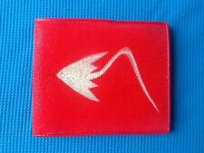 100% GENUINE STINGRAY FISH SKIN RED LEATHER MENS BI-FOLD WALLET STING RAY