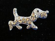 DACHSHUND Doxie Pin Dog Brown Crystals Brooch New Silver Tone Black Eye