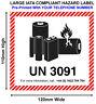 500 IATA UN3091 LITHIUM BATTERY HAZARD WARNING Labels 120x110 WITH TEL UN3091-TL