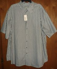 NWT FUSE from CASUAL MALE - BROWN/AQUA/WHITE STRIPED SS COTTON SHIRT - MENS 2XL