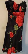 PARTY PROM DRESS Sz 3 Stunning Black & Red Satin Rose Print Spaghetti Straps