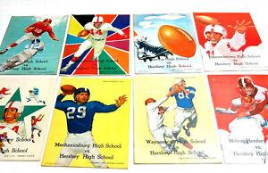LOT OF 8 VINTAGE 1956 / 1958 HERSHEY HIGH SCHOOL FOOTBALL SOUVENIR PROGRAMS
