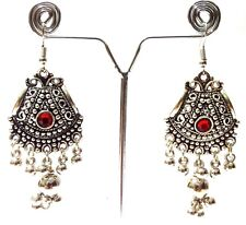 Silver Oxidized Earring Jhumka Jhumki Imitation Ethnic Jewelry Long Dangle 7L8