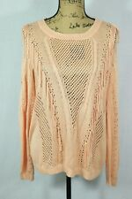 OLIVE + OAK Tassel Sweater Size Large Super Soft Open Knit Top Orange Cream