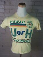 Vintage 80s University of Hawaii Rainbows T Shirt Surf M/S Stedman