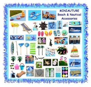MINIATURE fairy garden beach / tropical / nautical accessories - sea ocean pool