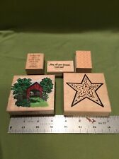 Mounted Lot Of 5 Rubber Stamps Covered Bridge Star Birthday L13