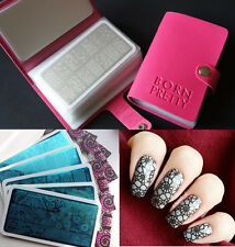 Born Pretty Rectangle Nail Stamping Plates Kit with 20-Slots Stamp Plate Holder