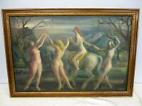 ORIGINAL SIGNED ARTHUR ALBERT OIL ON CANVAS ART DECO NUDES ON A HORSE PAINTING
