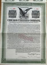 'Chicago Utilities Company' 1912 Stock/Gold Bond Certificate - Illinois/Maine