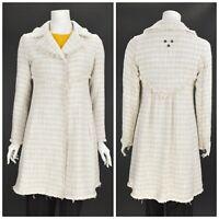 Womens Odd Molly 316 Boucle Tweed Coat Jacket Beige Cotton Blend Size 1 / UK8