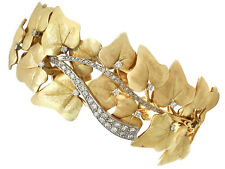 1.12ct Diamond & 18Carat Yellow Gold White Gold Set Bangle Antique c1930