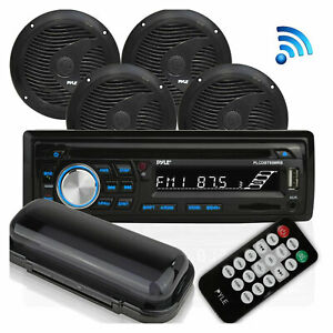 Pyle Marine Bluetooth Receiver Stereo System w/ 2 Pair Speakers, Black (2 Pack)