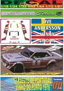 DECAL TOYOTA CELICA 2000 GT O.ANDERSSON R. PORTUGAL 1978 7th (06)