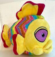 "Kellytoy Rainbow Fish Plush Yellow w/ Pink Glitter Eyes Stuffed Animal Toy 14"""