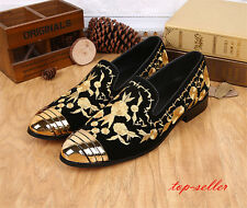 Stylish Men Loafers Embroidered Leather Oxfords Casual Slip On Party Dress Shoes