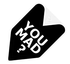 ## JDM WAKABA BADGE YOU U MAD BRO Car Decal Flag not vinyl sticker ##