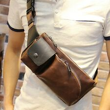 Men's Leather Military Motorcycle Shoulder Bag Travel Hiking Waist Pack Brown
