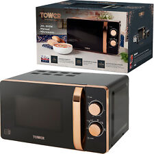 Tower T24020 20L Manual Solo Microwave 800w Black & Rose Gold Micro Oven