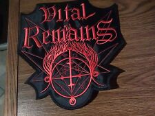 VITAL REMAINS,SEW ON RED  EMBROIDERED LARGE BACK PATCH