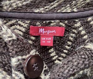 Ladies Cardigan/coat By Monsoon, Size 14. Unusual Knit In Brown Acrylic/wool.