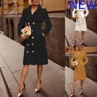 Outwear Jacket Overcoat Lapel Long Autumn Trench Slim Winter Women Wind Coat