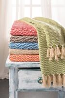 Chevron Soft Cotton Handloom Throw, Fair Trade Blanket  150cm x 125cm
