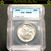 Sharp 1926 U.S.Silver Oregon Trail Commemorative Half Dollar 50c ICG MS66
