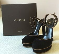 Gucci Scamosciato NIB Black and Gold Platform High Heel Suede Size 40 Shoes