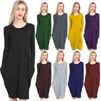 Ladies Womens Parachute Midi Dress Lagenlook Baggy Oversize Pocket Dresses 8-22