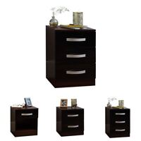 Hulio 1 2 3 Drawer Bedside Chest Cabinet High Gloss Wood Bedroom Black & Walnut