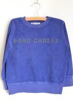 BOBO CHOSES Unisex Blue Teddy Jumper Gold Logo 6-7 Years