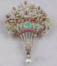 3.45ct ROSE CUT DIAMOND RUBY PEARL EMERALD 925 SILVER VICTORIAN LOOK BROOCH PIN