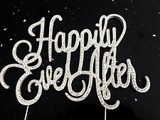 Happily Ever After Cake Topper Clear Rhinestone Crystal Bling Wedding Silver