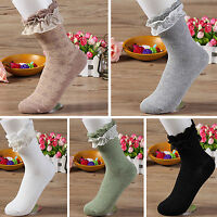 2Pcs New Women Ladies Retro Lace Ruffle Frilly Ankle Sock Cotton Socks Fashion