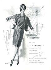 1961 Lord & Taylor Fashion Wool Knit Skirt top ART PRINT AD