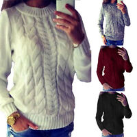 Womens Casual Jumper Crew Neck Long Sleeve Pullover Tops Knitted Sweater Winter