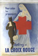 Gouache poster original old accede to the red cross war henri neveu