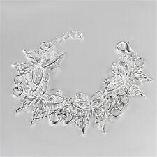 New Full Butterfly Bangle Bracelet Jewelry Women 925 Sterling Silver Plated Gift