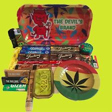 ROLLING TRAY GIFT SET FROM THE DEVIL'S BRAND, RAW, BULLDOG,SMOKING, BRAND NEW