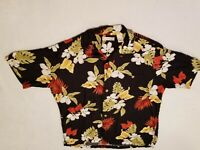 Caribbean Mens Large Hawaiian Shirt 100% Rayon Short Sleeve Floral Black
