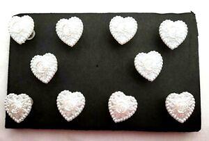WEDDING PEARL HEARTS Push Pins - Set of 10 Handmade Decorative Thumb Tacks