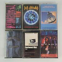 6 Classic Rock Cassette Tapes Aerosmith,  Leppard, Straits, Bon Jovi, Mac, Heart