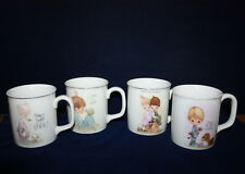Precious Moments ~ 4~ Enesco Coffee Tea Cups /Mugs Nice Detail Goldtone Rim