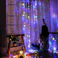 Waterproof 300 LED Curtain Fairy Lights String USB Christmas Party Home Decor