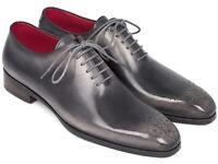 Paul Parkman Men's Gray & Black Wholecut Oxfords Handmade Shoes