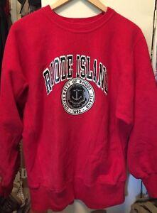 Vintage RHODE ISLAND University Champion Reverse Weave Warmup Sweatshirt. Size L