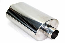 "Universal JDM Polished Steel Muffler Honda Acura 2.5"" Oval Exhaust Performance"